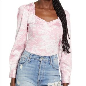 WAYF Justine Smocked Palm Bustier Top Pink XS NWT